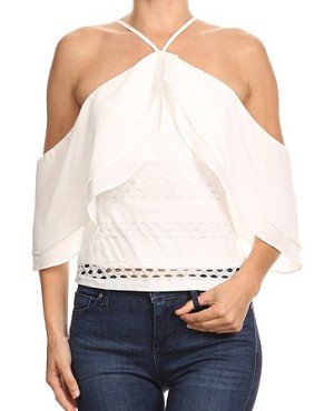 Halter Off the Shoulder Ruffle Top- 2 Colors