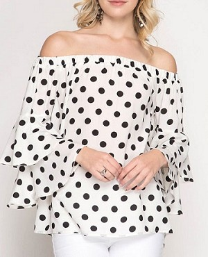edf593bd3a9 Polka Dot off the Shoulder Top, Polka Dot Top with Bell Sleeves, Polka Dot  Blouse, Blue Polka Dot Top, White Polka Dot Top