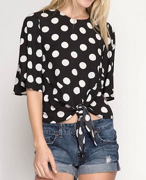 Black Polka Dot Boxy Top