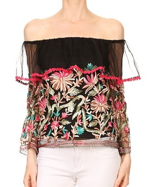 Multi color Mesh L/S Off the Shoulder Top