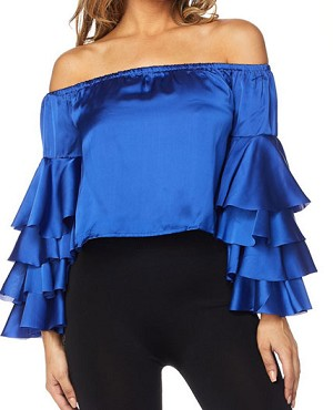 Satin Charmeuse Off the Shoulder Top w/Bell Sleeves- 2 Colors