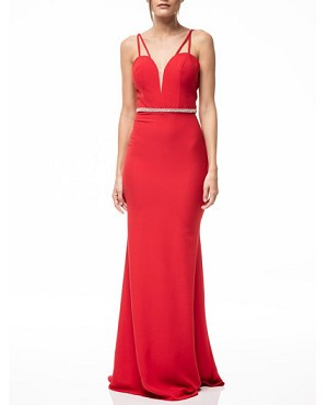 Red Sweetheart Evening Dress with Rhinestone Trim