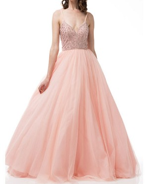 Pink Tulle Ball Gown w/Beaded Bodice