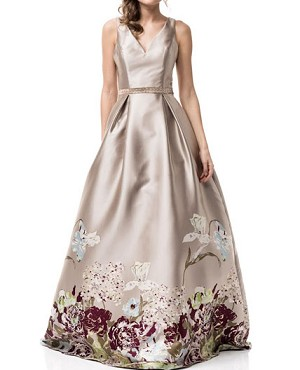 Champagne Ball Gown w/Floral Print