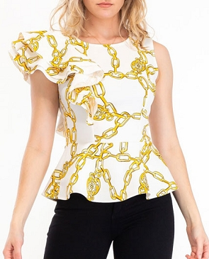 Chain Print Scuba Peplum Ruffle Top- 2 Colors