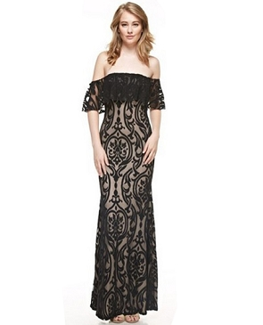 Black Lace Off the Shoulder Formal Dress