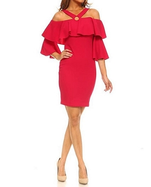 Off the Shoulder Ruffle Short Dress- 2 Colors