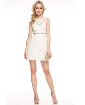 Guipure Lace Tulle Short Dress- 3 Colors