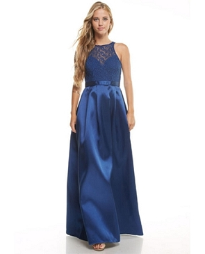 Mikado Halter Ball Gown w/Lace Bodice- 2 colors