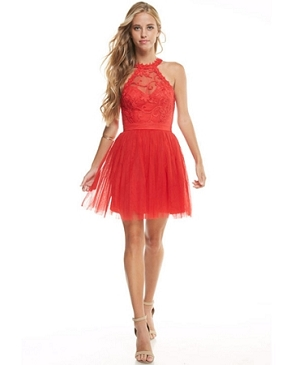 Halter Lace Tulle Short Dress- 3 Colors