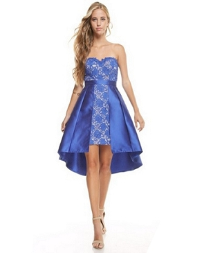 Strapless Lace Guipure Cocktail Dress w/Mikado Overlay- 2 Colors