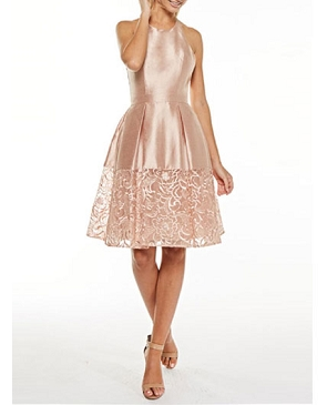 Blush Halter Cocktail Dress w/Lace Trim