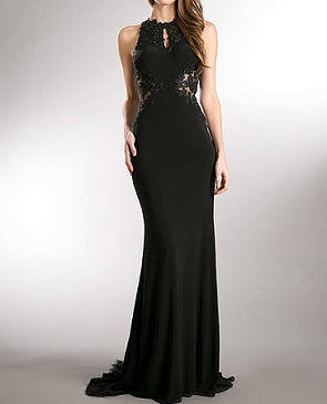 Black Jersey Evening Dress w/Black Lace Cutouts