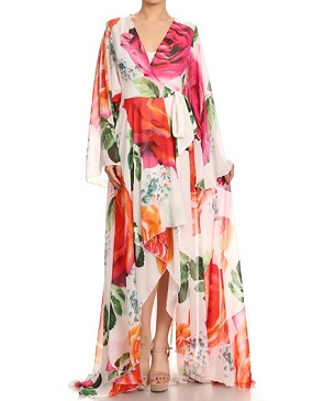 Floral Chiffon Hi-Low Maxi Dress- 2 Colors