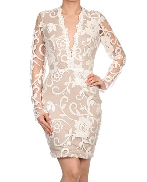 L/S Lace Sequins Short Dress- 2 Colors