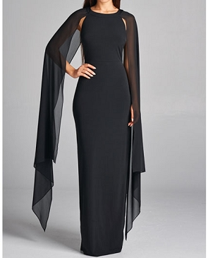 Cape Style Formal Dress