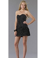 Black Taffeta Short Cocktail Dress