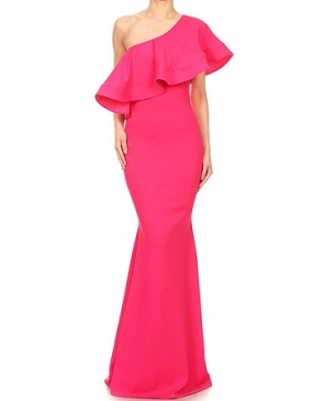 One Shoulder Solid Formal Dress w/Dramatic Ruffles- 3 Colors