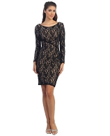 L/S Lace Cocktail Dress- 3 Colors