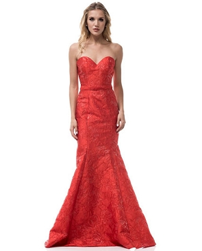 Red Brocade Strapless Mermaid Gown