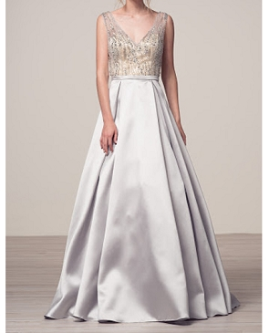 Silver Ball Gown w/Sheer Beaded Bodice