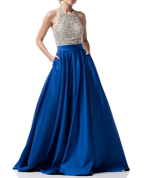 Royal Blue Halter Ball Gown w/Rhinestone Beaded Top