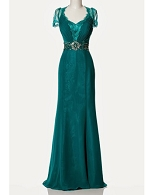 Teal Lace Evening Dress