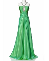 Green Chiffon Keyhole Halter Formal Dress