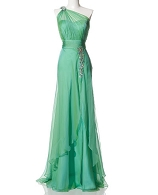 One Shoulder Green Chiffon Evening Dress