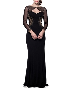 L/S Black Mesh ITY Formal Dress w/Gold Trims