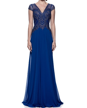 Royal Blue Cap Sleeve Evening Dress