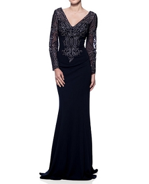 L/S Navy Evening Dress w/Silver Embroidery