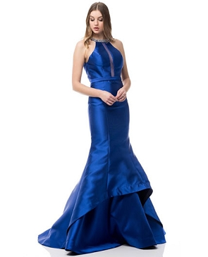 Royal Blue Mikado Mermaid Gown w/Open Back