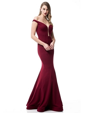 Off the Shoulder Mermaid Evening Dress- 2 Colors