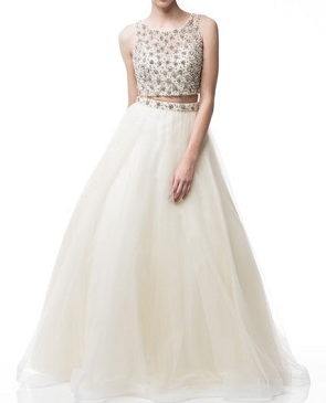 Ivory Pearl Rhinestone Crop Top w/Tulle Ball Gown Skirt