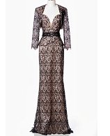 Guipure Black and Nude Evening Dress w/Bolero