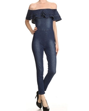 Denim Off the Shoulder Jumpsuit