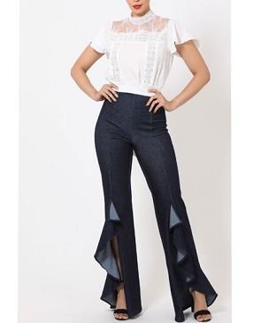 Denim Blue Pants with Ruffles and Slits