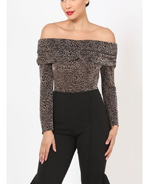 Animal Print Long Sleeve Off the Shoulder Bodysuit