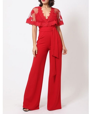 Red Jumpsuit with Mesh Lace Overlay