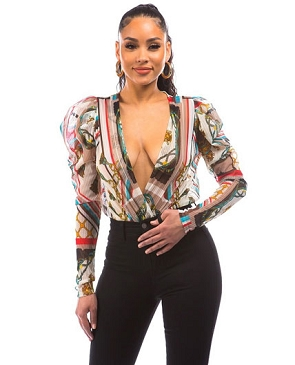 Chain Print Long Sleeve Bodysuit