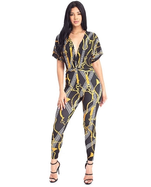 Chain Print V-Neck Jumpsuit