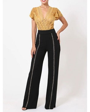 Black Pants with Gold Thread Trims