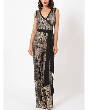 Black Jumpsuit with Gold Sequins Print