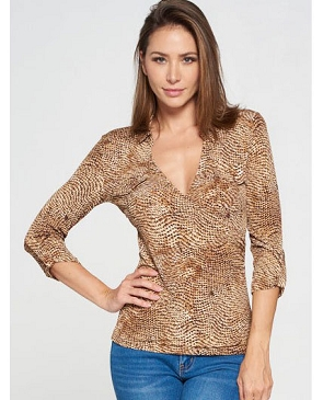 Snake Print V-Neck Top- 2 Colors
