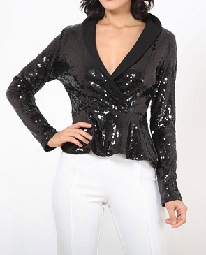 Long Sleeve Black Sequins Peplum Jacket Top
