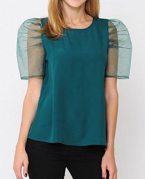 Hunter Green Top with Puff Short Sleeves