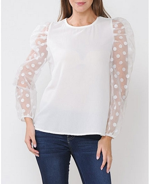 Solid Top with Sheer Polkadot Long Puff Sleeves-2 Colors