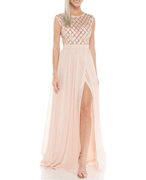 Blush Chiffon Formal Dress with Sequins