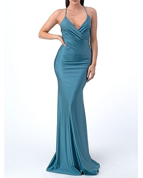 Crystal Halter Mermaid Dress with Thin Straps- 2 Colors